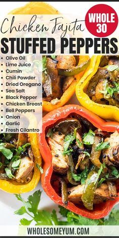 Chicken fajita stuffed peppers are a fun and easy twist on fajitas. This whole30 stuffed peppers recipe needs just 10 minutes prep time. Naturally low carb, keto friendly, paleo, and gluten-free.