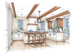 Tuscan Inspired Kitchen with Louvered Door Cabinets/ by Mike Ricereto