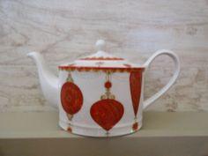 NEW 222 Fifth Constantina Red Holiday Christmas Holiday Teapot Tea Pot