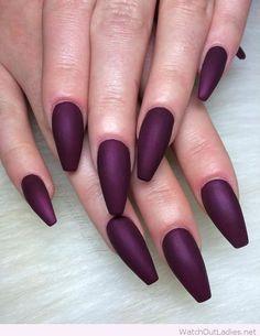 Cool long wine matte coffin nail design