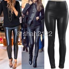 """Black Faux Leather leggings high waist Fleece ❌Price is firm unless bundled. ❌ Black Sexy Vegan Faux leather leggings. Perfect fit  High waist Medium weight Lightly soft Fleece-lined These are Very Stretchy Fabric Content : 65% Polyester + 35% Cotton Measurements laying flat Unstretched to stretched (Inseam = 27-28"""") (Total Length= 38-39"""") (Front Rise = 12"""") (Back Rise =14"""")  (Small Waist =11-13"""") (Medium Waist =12-14"""") (LargeWaist =13-15"""") (XL Waist =14- 16 """" ) *Price is firm unless bundled…"""