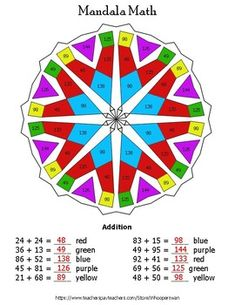 There are 10 unique math problems. Directions: Solve the math problem, look at the color next to it, and then color in ALL of the shapes that have that answer. Math Problems, Math Worksheets, Puzzles, Mandala, Coloring, Pdf, Shapes, Teaching, Unique