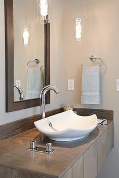 These days, everything is so hustle-bustle. But with the simplest colours and décor, your bathroom can help you escape it all -- even if just for a short while. Bathroom Renos, Small Bathroom, Bathroom Ideas, Modern Sink, Live In Style, Decoration Design, Dream Rooms, Beautiful Bathrooms, Home Interior Design