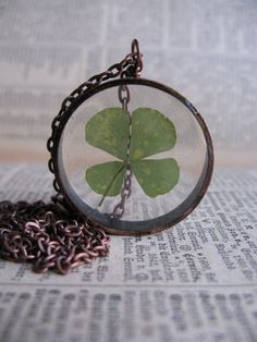Lucky 4 Leaf Clover Pendant  Real 4 leaf clover by ScrappinCop, $10.00