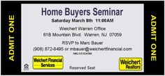 Home Buyers Seminar. March 8th @ 11:00