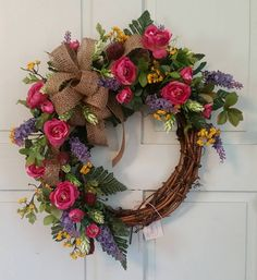 Bright Summer Grapevine Wreath by ByersBeauties on Etsy Diy Wreath, Grapevine Wreath, Wreath Ideas, Summer Wreath, Spring Wreaths, Outdoor Wreaths, Deco Mesh Wreaths, Floral Wreaths, Holiday Wreaths