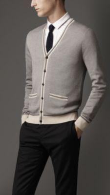 Stripe Detail Silk Cardigan
