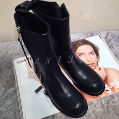 Gothic Womens Black Leather Mid Calf Boots Military Flats Zip Round Toe Shoes