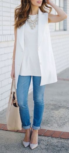 Love this style, very classy with the white sleeveless blazer