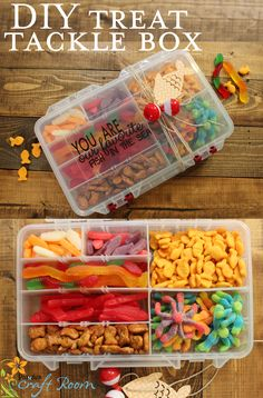 """Treat Tackle Box A tackle box filled with little candy treats and decorated with the text"""" You are our/my favorite fish in the sea"""" complete with a paper fish and bobbers! A clever, custom, quick and affordable gift that anyone would love! Diy Gifts For Him, Diy Father's Day Gifts, Father's Day Diy, Easy Diy Gifts, Creative Gifts, Homemade Gifts, Little Gifts For Him, Homemade Fathers Day Gifts, Tackle Box"""