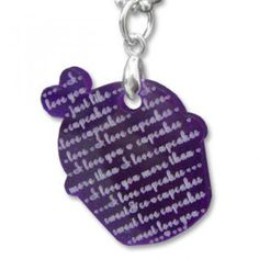 Sweet & Co. I Love Cupcakes Mirror Violet Charm Necklace Love Cupcakes, 925 Silver, Charmed, Personalized Items, Mirror, My Love, Sweet, Stuff To Buy, Jewelry