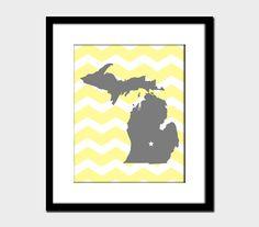 Michigan Chevron Modern State Wall Art Home Decor Art Print Yellow Dalila Slate Zigzag