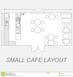 Illustration about Illustration of small cafe layout line design. Illustration of layout, length, illustration - 39652283 Restaurant Layout, Restaurant Floor Plan, Small Restaurant Design, Small Cafe Design, Modern Restaurant, Restaurant Restaurant, The Plan, How To Plan, Cafe Floor Plan