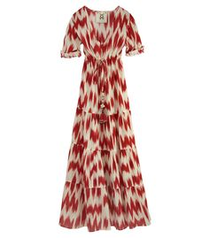 Figue Kalila Dress - Printed, multi-tiered maxi-dress with a tassel-tie waist.