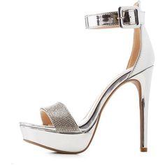e59d45067424 Charlotte Russe Qupid Crystal Two-Piece Platform Sandals