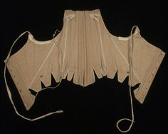 Stays, United States, late 18th century. Linen plain weave, silk thread, baleen, linen tape, leather, metal hooks. The cross-boning in these lightly boned stays would have created the fashionably round bust of the period. Pairs of worked eyelets at the side fronts would have facilitated the attachment of hip pads.
