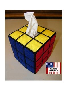 Rubiks Cube Tissue Box cover (Solved Version).  Great Fathers day gift for the Rubik's Cube Nerd in your family.  Handmade , quality item. We ship Worldwide.