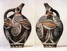 """MINOAN ART: Beaked jug, from Phaistoc c. 1800 B.C. Height 10 5/8"""" Crete developed a type of pottery (Kamares ware - named after where it was discovered)."""