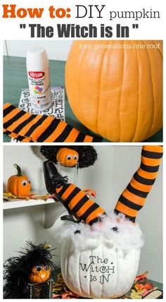 How to make a DIY Pumpkin with witch legs in under 30 minutes. Quick and easy halloween craft and perfect for any tabletop. This would be fabulous coordinated at a beverage station during a party. Cute witch hat from HomeGoods