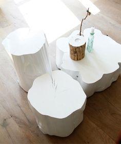 <3 White tree stump tables