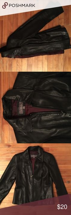 Leather Jacket Thick and worn in black 100% leather jacket! Ideal for fall and mild winter nights and great paired with black skinny jeans and boots. (Inside is a nice maroon color fabric) Liz Claiborne Jackets & Coats