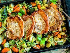 Koteletter og grønnsaker i ovn One Pot Wonders, Pork Loin, Turkey, Meat, Food Food, Pork Fillet, Peru, Beef, One Pot Meals