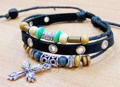 personalized charm bracelets mens leather bracelets  by edwinating, $7.99