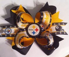 Pittsburg Steelers boutique style bottle cap hair bow on Etsy, $10.50