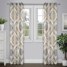 Journee Home 'Arlo' 84 in Grommet Top Printed Curtain Panel
