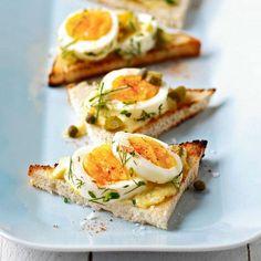 Herbed deviled egg bruschetta.