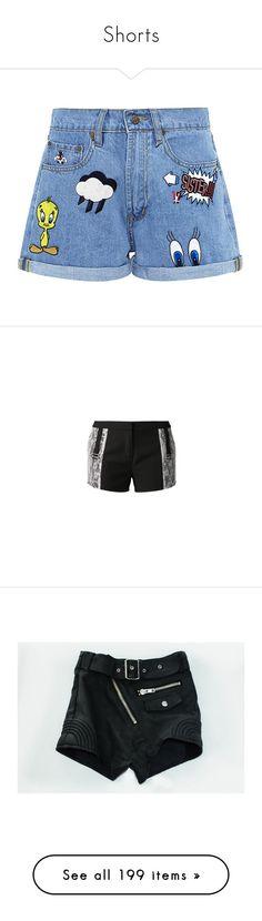 """Shorts"" by justynaldana ❤ liked on Polyvore featuring shorts, bottoms, short, pants, denim shorts, short jean shorts, short shorts, embroidered shorts, denim short shorts and pocket shorts"