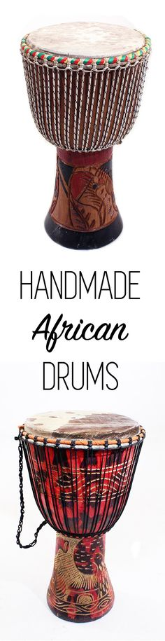 Handmade African D'jembe Drums -  Deep, rich, and loud bass tones: the sound can be heard for miles in quiet African bush country. Professional quality instruments that serve as astounding home decorations as well. These African Djembe drums are popular in reggae and other cultural music productions. In West Africa nearly all ceremonies are accompanied by the timeless and distinctive melody of drums. Drum heads are made from goat skin. #music #drums #african #djembe #drummer #instruments…