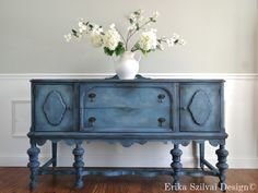 SOLD!!! CUSTOM FINISH for Christine  - Hand Painted Cottage Chic Shabby Romantic Vintage Victorian Jacobean Antique Blue Sideboard Buffet