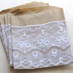 Wedding favor bags 6 x 7 inches set of 10 lace by Artesenias