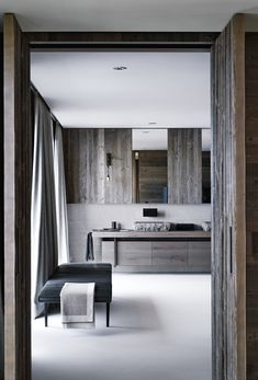 Bernd Gruber creates an enticing heaven on a sunny slope in Kirchberg, a chalet interpreted in a modern way was created. Modern Bathroom Tile, Small Bathroom, Modern Bathrooms, Bathroom Ideas, Chalet House, Design Moderne, Weathered Wood, Interiores Design, Bathroom Inspiration