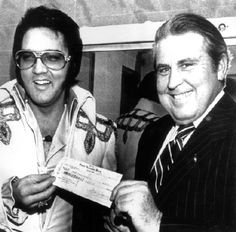 """Backstage in Jackson, MS on May 5, 1975  Special Benefit Show that the Colonel arranged w/ Elvis to raise money for the January 9, 1975 McComb Twister Victims. A total of $113,674.88 was raised. With Gov Bill Waller's intervention, Coliseum was provided free the 10,242 fans. Elvis/Colonel also contributed all the money from souvenir sales and paid for advertising and production ($35,000). Check for $113,674.88  presented to Governor Waller,""""it was an historic occasion"""""""