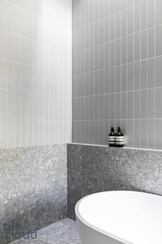 TileCloud | Redfern Project | Stirling Terrazzo Look Grey Tile Bathroom Toilets, Bathroom Renos, Laundry In Bathroom, Bathroom Flooring, Bathroom Renovations, Family Bathroom, Master Bathroom, Bathroom Inspo, Bathroom Styling