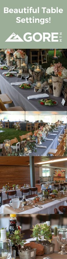 Elegant Adirondack Wedding Table Settings. Rustic wood, birch bark, sticks, candles, and flowers.  Southwest flare with gemstone, succulents, concrete, cactus, and stone. Beautiful Table Settings, Wedding Table Settings, Mountain Weddings, Birch Bark, Rehearsal Dinners, Rustic Wood, Special Events, Sticks, Concrete