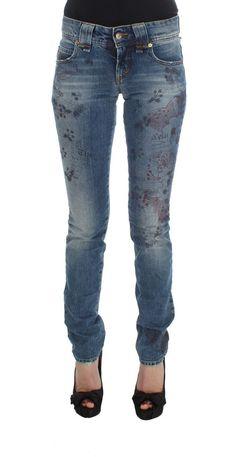 Galliano Blue Motive Cotton Blend Slim Fit Jeans