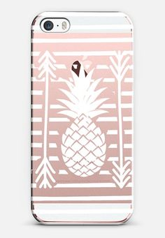Modern white arrows atripes pineapple illustration by Girly Trend iPhone SE case by Girly Trend | Casetify