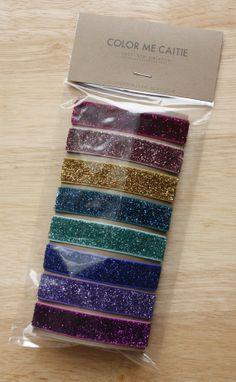 elastic hair ties -- rainbow glitter palette / etsy