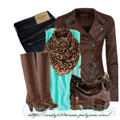 Chic Outfit - brown jacket, aqua top, animal print scarf, jeans, brown accessories!