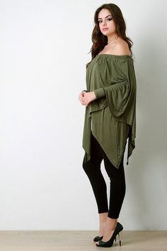 6ed2c4a89ceff Off-The-Shoulder Draped Layer Long Sleeve Top