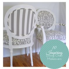 10 Inspiring Dining Chair Makeovers  http://www.reasonstoskipthehousework.com/dining-chair-makeovers/