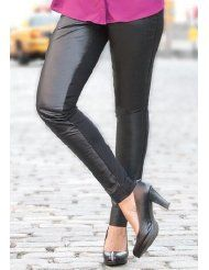 Jessica London Plus Size Leather Jeggings