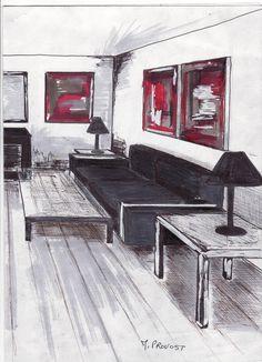Comment dessiner un salon croquis am nagement int rieur pinterest - Comment dessiner un canape ...