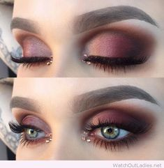 Burgundy eye makeup for blue eyes with nice details