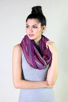 Anika Dali shimmering infinity scarf is such a dazzling stunner, get showered by compliments! Pair it with a dress or jeans, go casual chic or formal stylish. Fashion Prints, Women's Fashion, Floral Fashion, Striped Scarves, Loop Scarf, Shawls And Wraps, Scarf Styles, Festival Fashion, Chic Outfits