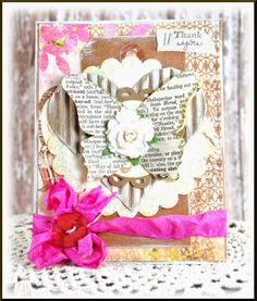 Shabby chic Thank You card designed by Tammy Hobbs @ Creating Somewhere Under The Sun #shabbychiccard, #thekraftoutlet