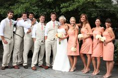 YES! The men in Khaki with no jackets! and the women in peach all lace to the knee dresses!-Love the relaxed look of the groomsmen.